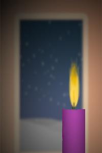 Kerze vor der Terrassentür