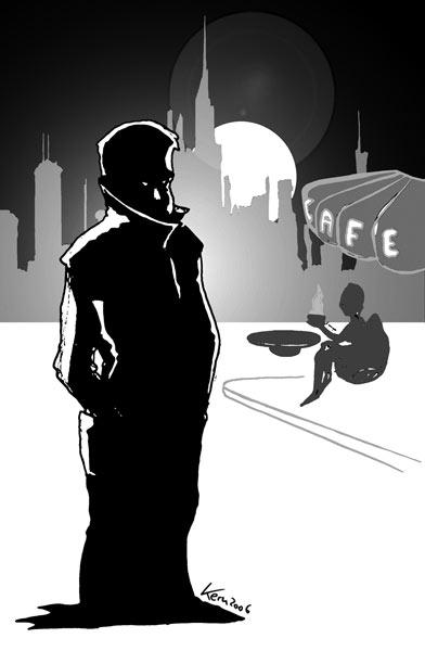 SIE und der Tod - Zeichnung von Oliver Kern
