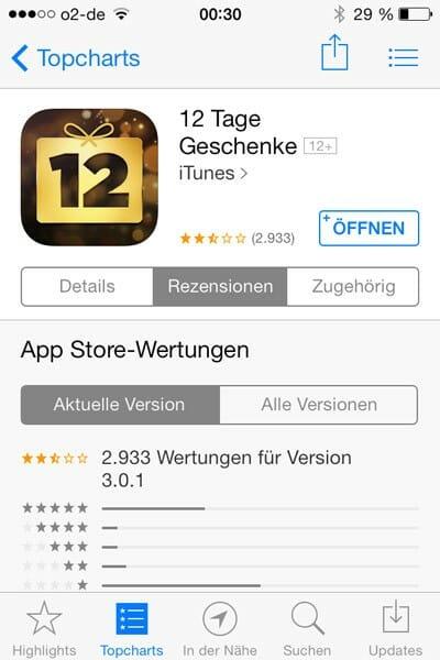 Bewertung der 12-Tage-App