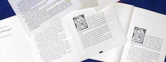 Der Weg zum Buch: Handschriftliches Manuskript, lektorierte Fassung, Fahnen, Druckbogen, Aushänger. »Mauern des Schweigens«, Esslinger 1999.
