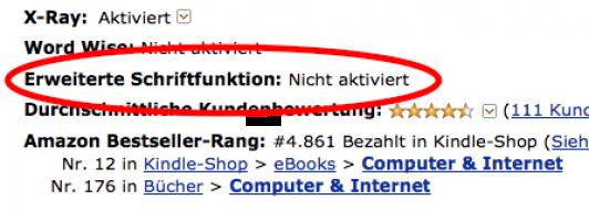 Ob ein Buch schon für die neue Software optimiert wurde, zeigt Amazon in den Produktinfos an.