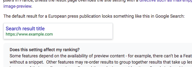 Nur Titel und URL: Mehr wird Google bei Nachrichtenwebsites im Suchergebnis auf google.fr nicht mehr anzeigen.