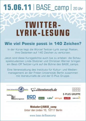 Der Flyer zur Twitter-Lyrik-Lesung am 15. Juni 2011 in Berlin