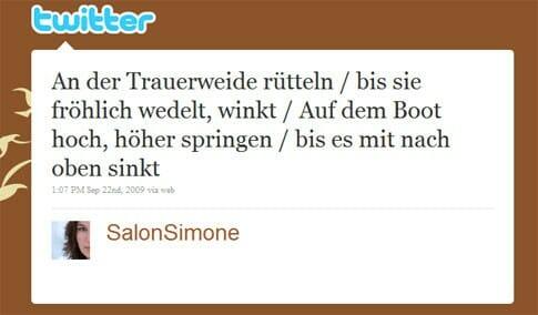 Gewinner Beitrag von @SalonSimone: An der Trauerweide rütteln / bis sie fröhlich wedelt, winkt / Auf dem Boot hoch, höher springen / bis es mit nach oben sinkt