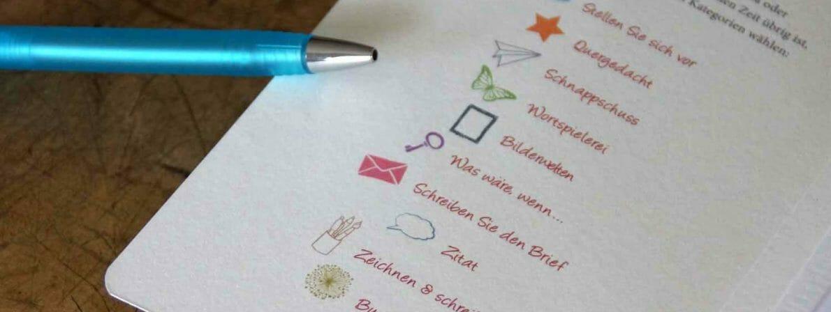 Die Kategorien der Schreibimpulse auf der Cover-Innenseite