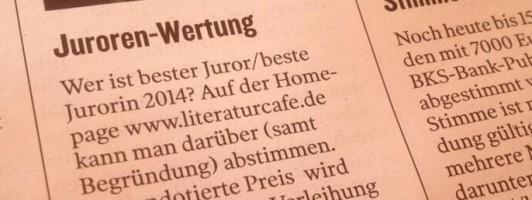 Die KLEINE ZEITUNG weist auf die Abstimmung zum/zur besten Juror(in) 2014 hin