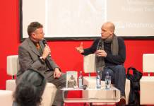 Arno Geiger (rechts) im Gespräch mit Wolfgang Tischer auf der Leipziger Buchmesse 2018