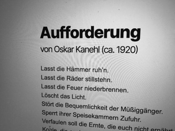 Screenshot von proletkult.at: Das Gedicht »Aufforderung« von Oskar Kanehl