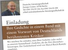 Werbung der Deutschen Literaturgesellschaft für eine angebliche Gedichtsammlung mit einem Vorwort von Marcel Reich-Ranicki