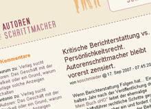 Weblog-Provider blog.de entfernt Beiträge nach Beschwerde eines ***