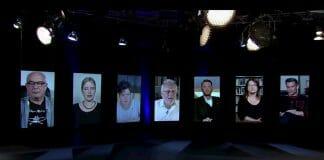 Die Bachmannpreis-Jury 2020 per Bildschirm zugeschaltet (von links): Klaus Kastberger, Insa Wilke, Nora Gomringer, Hubert Winkels, Michael Wiederstein, Brigitte Schwens-Harrant, Philipp Tingler (Foto: Screenshot/ORF)