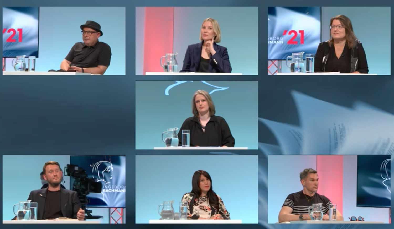 Die Jury 2021 von oben links nach unten rechts: Klaus Kastberger, Mara Delius, Brigitte Schwens-Harrant, Insa Wilke, Michael Wiederstein, Vea Kaiser und Philipp Tingler (Foto: Screenshot/ORF)