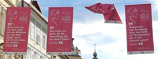 Bachmann-Banner 2014 in der Klagenfurter Fußgängerzone