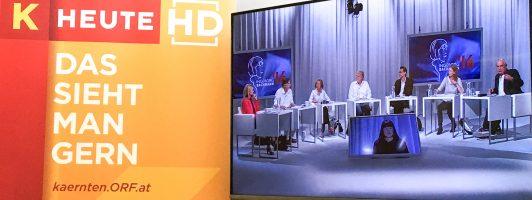 Die Jury 2016 im Monitor im Studio des ORF Kärnten
