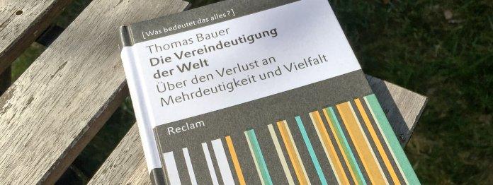 Thomas Bauer: Die Vereindeutigung der Welt