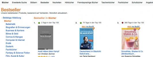 Denn sie wissen nicht, was sie kaufen: Eine alte Ausgabe aus dem Jahre 1991 mit Ausschnitten aus Hitlers Werk steht derzeit auf Platz 1 der Amazon-Buchverkaufscharts