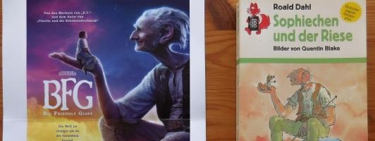 Werkgetreu: Filmplakat und damalige rororo-Rotfuchs-Ausgabe von »Sophiechen und der Riese« mit Zeichnungen von Quentin Blake (Klick zum Vergrößern)