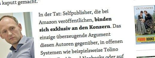 Wird durch Fettung nicht richtiger: Self-Publisher binden sich nicht automatisch exklusiv an Amazon (Ausriss: boersenblatt.net)