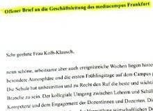 Dokument: Offener Brief an die Geschäftsleitung des mediacampus Frankfurt von den Schülern des 162. Kurses