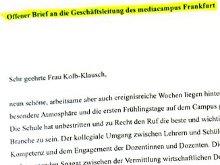 Offener Brief an die Geschäftsleitung des mediacampus Frankfurt von den Schülern des 162. Kurses