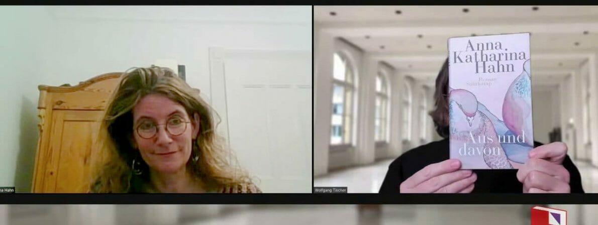 Anna Katharina Hahn im Gespräch mit Wolfgang Tischer (Zoom-Screenshot)