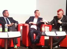Von iRights organisierte Diskussion auf der Buchmesse 2012 zum Thema Urheberrecht mit Rowohlt-Geschäftsführer Peter Kraus vom Cleff, Matthias Spielkamp (iRights) und Sascha Lobo