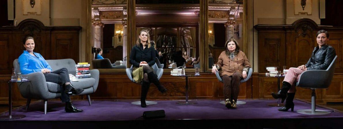 Das Literarische Quartett vom 26.02.2021 und von links nach rechts: Thea Dorn, Jagoda Marinić, Sibylle Lewitscharoff und Juli Zeh (Foto: ZDF/Jule Roehr)