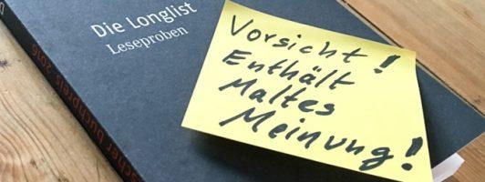 In vielen Buchhandlungen gibt es jetzt die Leseproben zum Deutschen Buchpreis 2016. Dort sind jedoch nicht immer nur die Anfänge der 20 Romane enthalten.