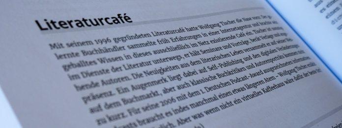 Eintrag zum literaturcafe.de in den Top-Ten zur Orientierung