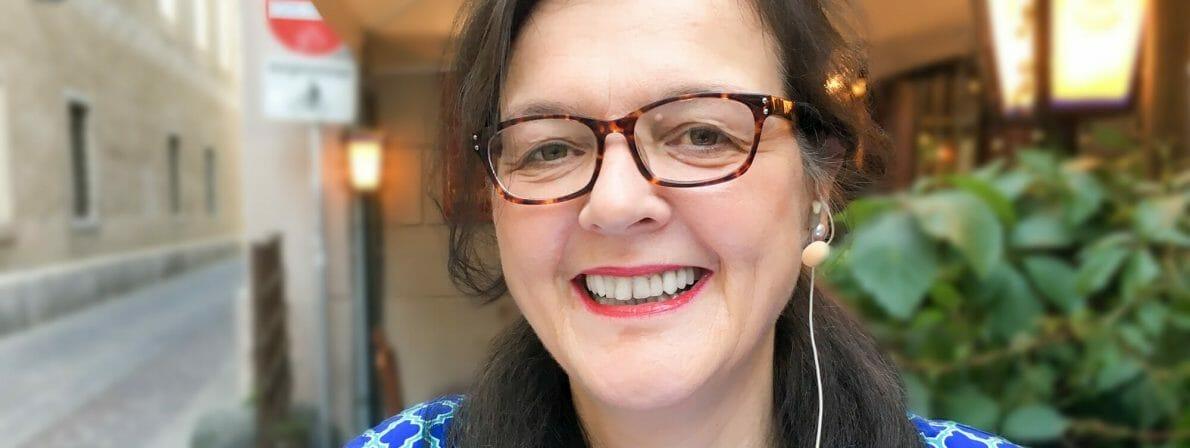 Doris Brockmann bei der Aufzeichnung des Bachmannpreis-Podcasts