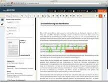 Der so genannte easyEditor mit dem der Text erfasst und bearbeitet wird. Hier mit eingeblendeter Vorlagenauswahl.