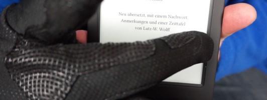 Blättern per Handschuh? Auf dem Tolino Shone 2HD funktioniert es