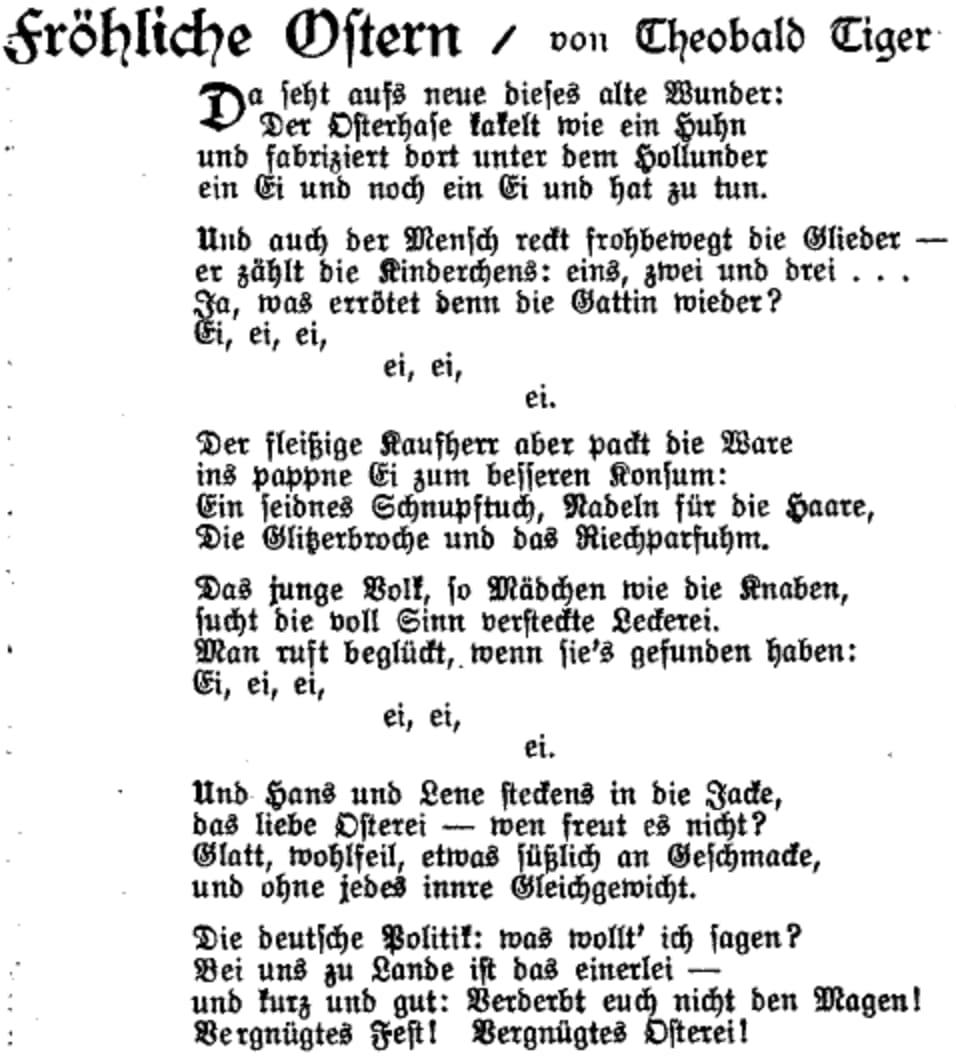Das Gedicht »Fröhliche Ostern« von Theobald Tiger (Kurt Tucholsky) im Erstdruck