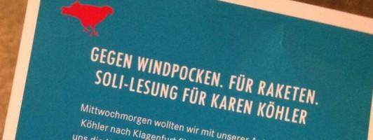 Gegen Windpocken. Für Raketen.Soli-Lesung für @KareninaKoehler am Do 16 Uhr am Lendhafen.