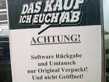 ACHTUNG! Software Rückgabe und Umtausch nur Original Verpackt! Und nicht Geöffnet!