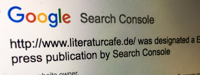 Post von Google: Das literaturcafe.de wird als »European press publication« eingestuft.
