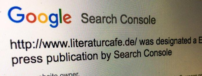Post von Google: Das literaturcafe.de wird als »European press publication« eingestuft.