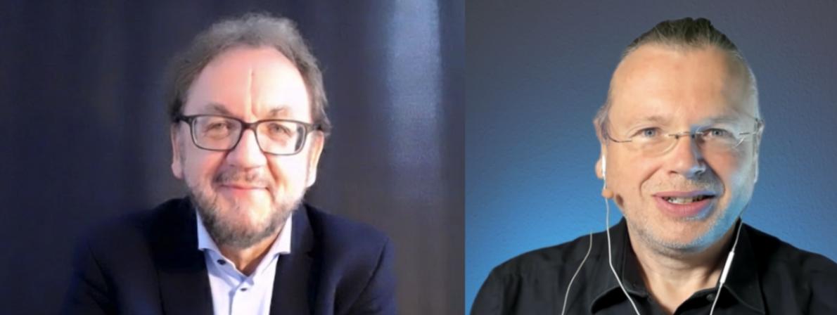 Podcast-Gespräch via Zoom: Heribert Prantl (links) und Wolfgang Tischer