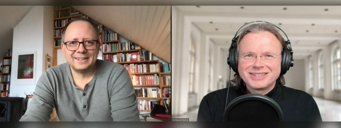 André Hille (links) im Gespräch per Zoom mit Wolfgang Tischer vom literaturcafe.de