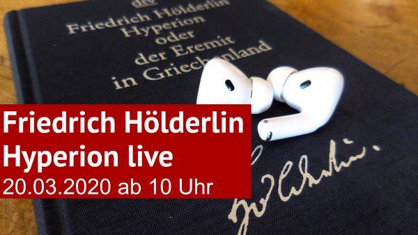 Buch »Hyperion« von Friedrich Hölderlin mit Kopfhörern (Foto: literaturcafe.de)