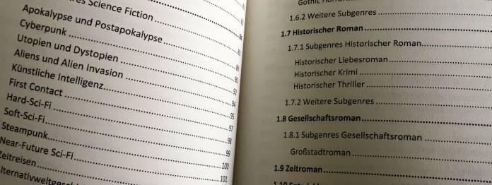 Blick ins Inhaltsverzeichnis von »Buchgenres kompakt«