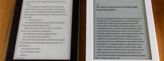 Helleres Display dank Beleuchtung: Der Paperwhite (links)