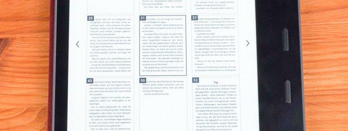 Ebenfalls gibt es eine Miniaturansicht aller Seiten, mit der man intuitiver durchs Buch navigieren kann.