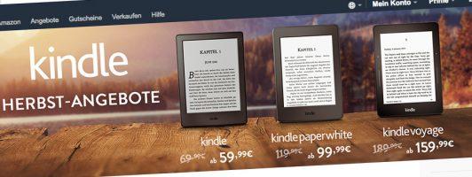 Der Screenshot der Amazon-Website zeigt die aktuellen Angebotspreise der Kindle-Geräte