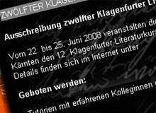 Jetzt bewerben: Der 12. Klagenfurter Literaturkurs ist ausgeschrieben