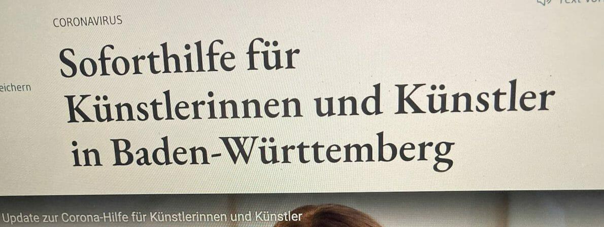 Von der groß angekündigten Hilfe für Künstler fällt für Autorinnen und Autoren kaum etwas ab (Screenshot der Website des Baden-Württemberigschen Ministeriums für Wissenschaft und Kunst)