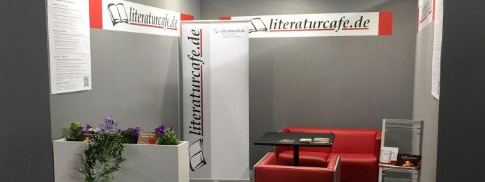 Der Stand des literaturcafe.de auf der Leipziger Buchmesse