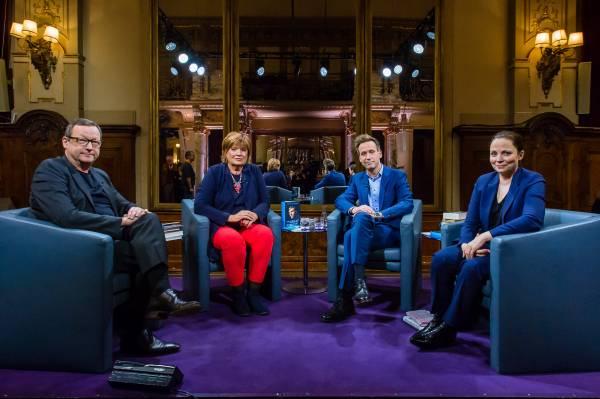 Matthias Brandt, Christine Westermann, Volker Weidermann (Die Hose! Die Hose!), Thea Dorn (Foto: ZDF/Svea Pietschmann)