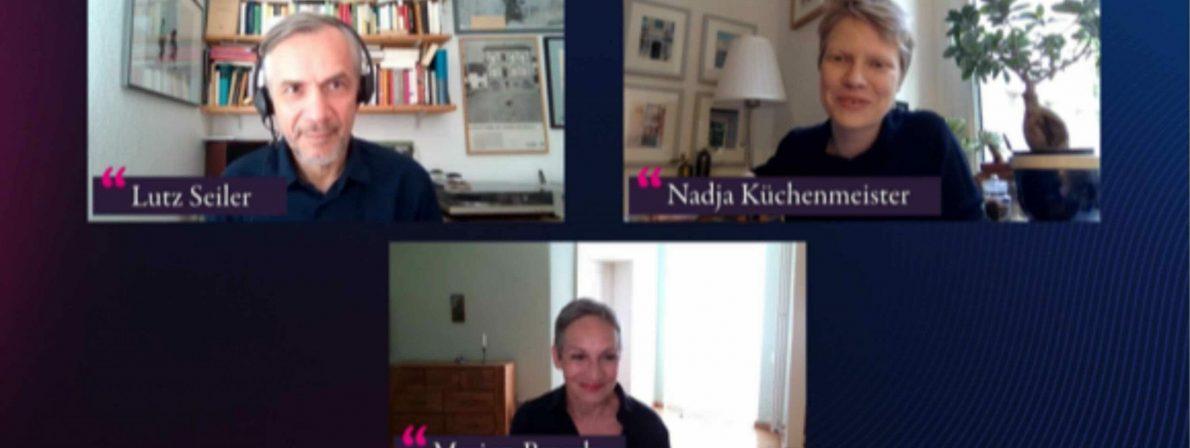 Beispiel für eine lit.COLOGNE Patenschaft: Lutz Seiler im Gespräch mit Nadja Küchenmeister, moderiert von Marion Brasch (Foto:Screenshot)