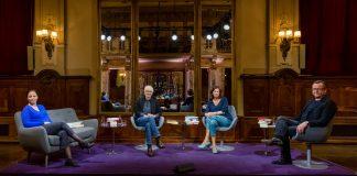 Auf 1,50 Meter Abstand gesetzt: Thea Dorn, Eugen Ruge, Eva Menasse und Matthias Brandt im Literarischen Quartett vom 01.05.2020 (Foto: ZDF/Svea Pietschmann)